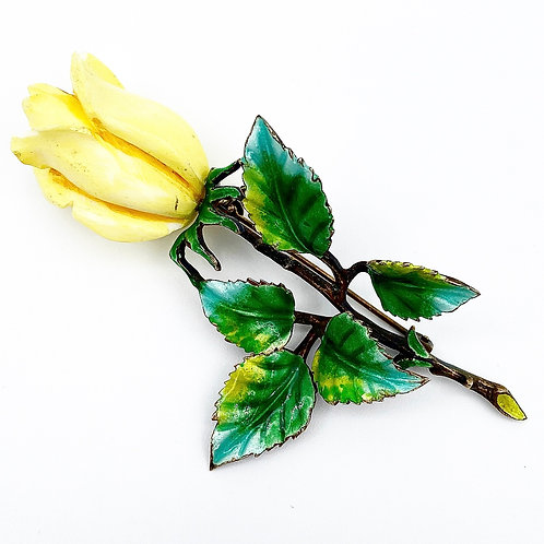 Yellow Rose Brooch with Enamel Leaves