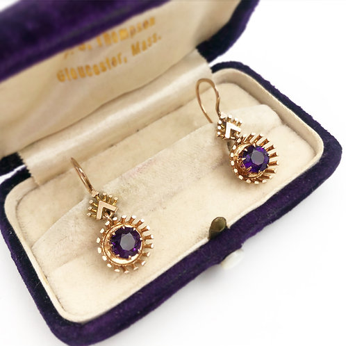 Rare Victorian Rose Gold Amethyst Earrings