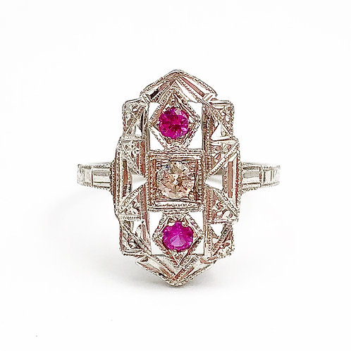 Art Deco Diamond & Pink Sapphire