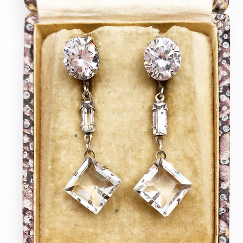 Art Deco French Paste Earrings