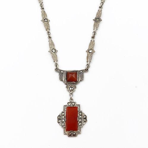Art Deco Cornelian Marcasite Necklace
