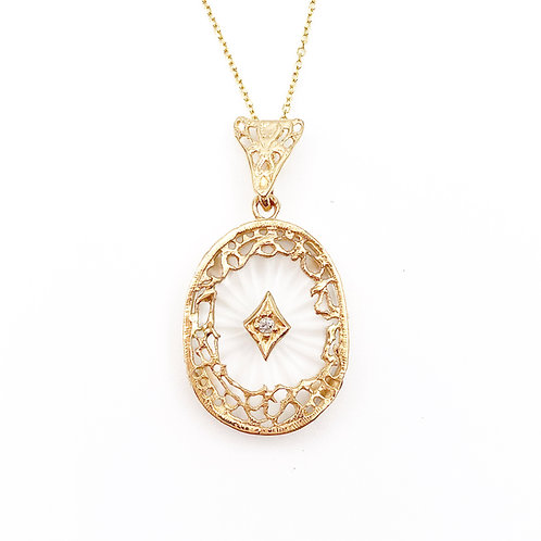 Yellow Gold Rock Crystal Necklace