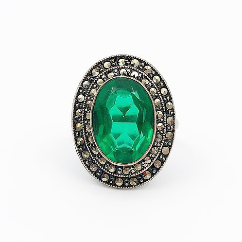 1930's Green Crystal & Marcasite Ring