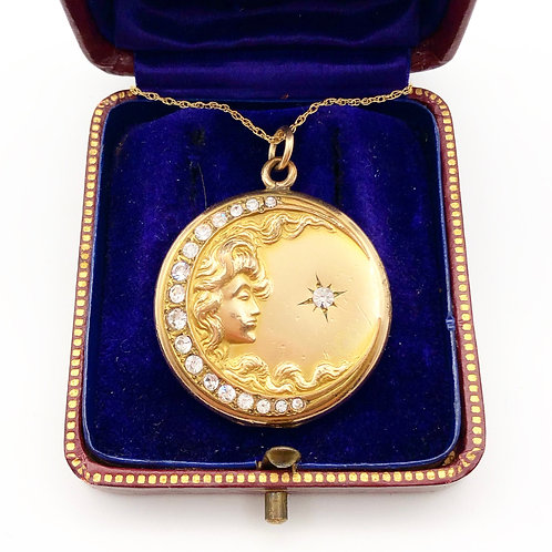 Art Nouveau Moon & Star Locket
