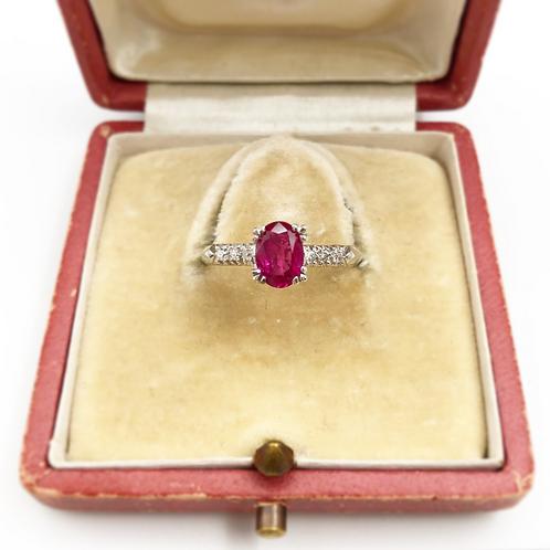 Art Deco Oval Cut Ruby & Diamond Ring