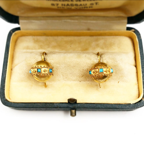 Yellow Gold Etruscan Turquoise Earrings