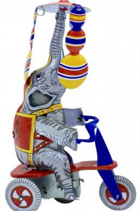 Elephant On Bike Tin Toys