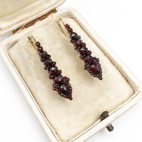 Victorian Rose Cut Garnet Earrings