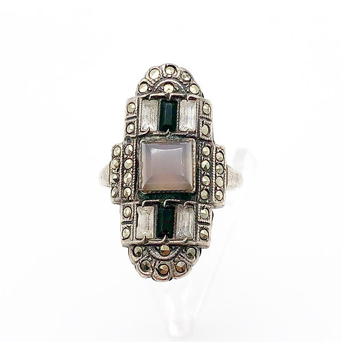 1930's Art Deco Sterling Marcasite Ring