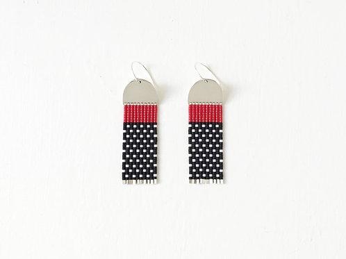 Black & Red Beaded Earrings