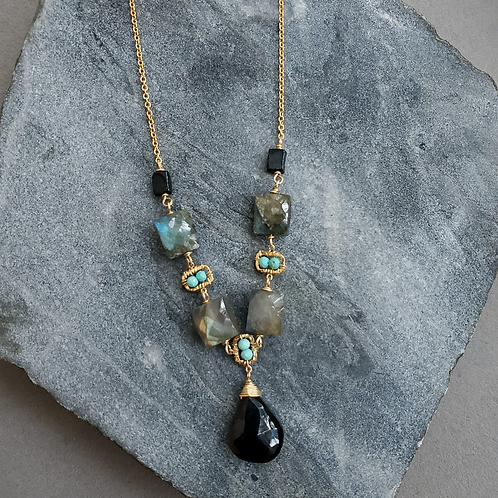 Labradorite & Black Spinel Necklace