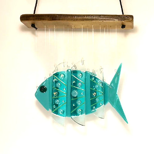 Teal Fish Wind Chime