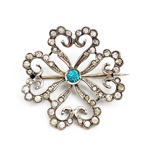 Sterling French Paste Brooch