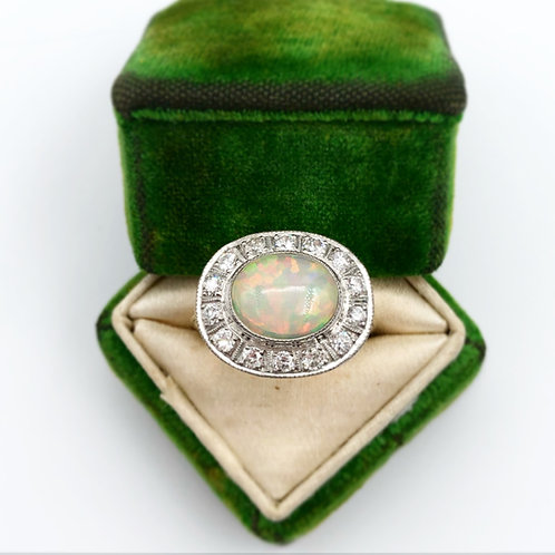 Art Deco Opal Ring with Diamond Halo