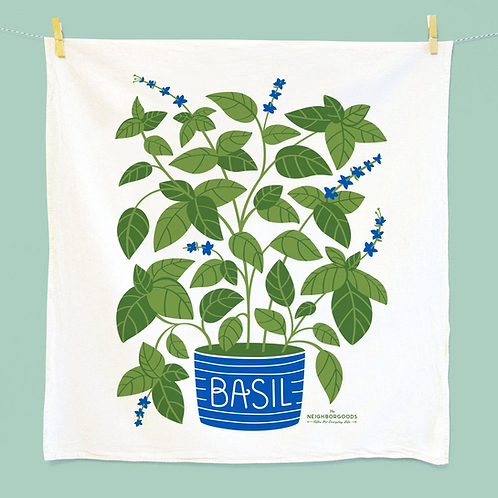Basil Herb Dish Towel