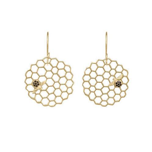 Honeycomb Disc Earrings