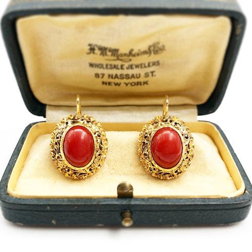 Beautiful Oval Coral Earrings