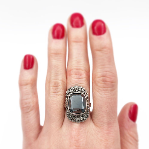 Art Deco Hematite & Marcasite Ring