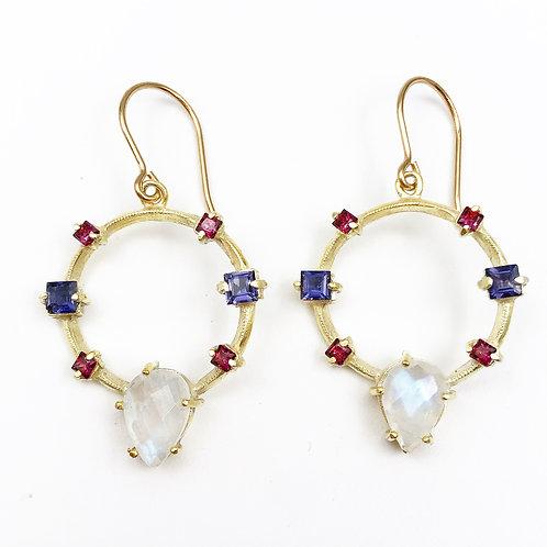 Moonstone & Multi Topaz Earrings