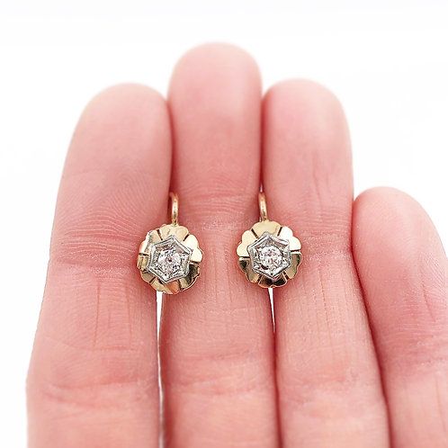 Yellow & White Gold Diamond Earrings