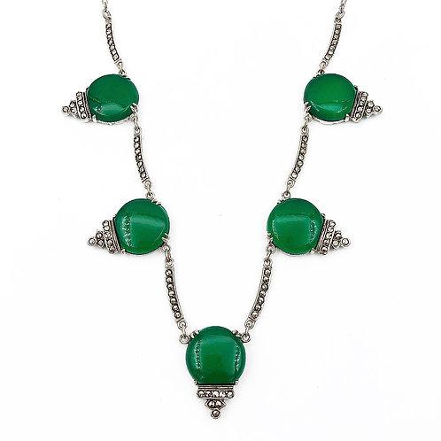 Art Deco Green Chalcedony Necklace