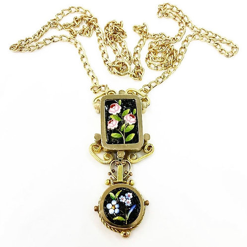 Italian Mosaic Flower Necklace