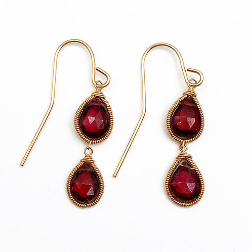 Briolette Cut Garnet Earrings
