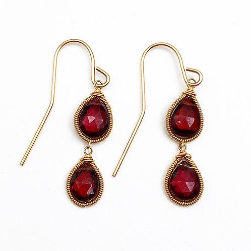 Briolette Cut Garnet Earrings