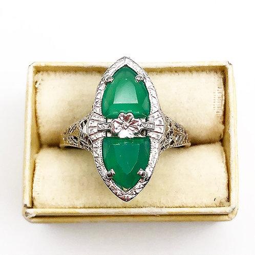 Edwardian Green Chalcedony Ring