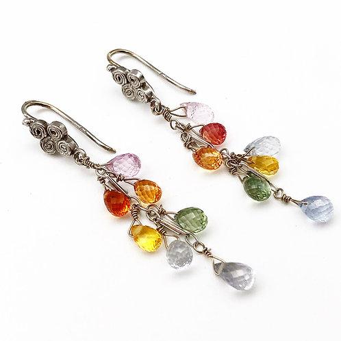 Drop Sapphire Earrings - Rainbow