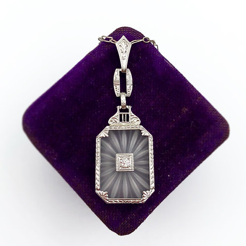 Etched Camphor Glass & Diamond Pendant