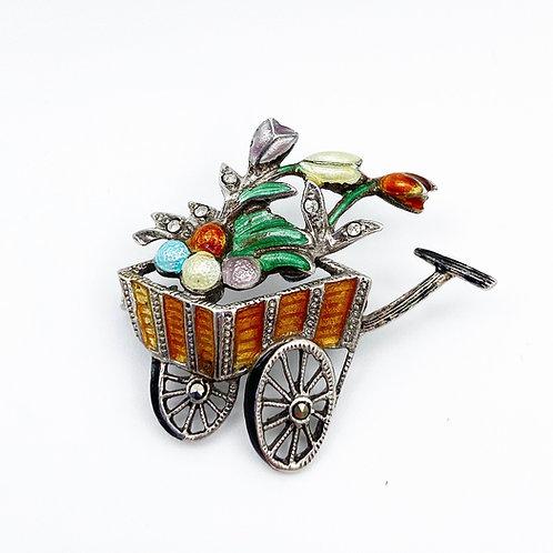 German Enamel Flower Cart Brooch