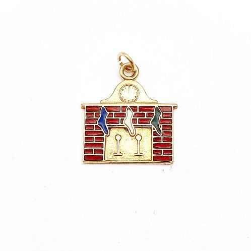 Enamel Fireplace & Christmas Stocking Charm