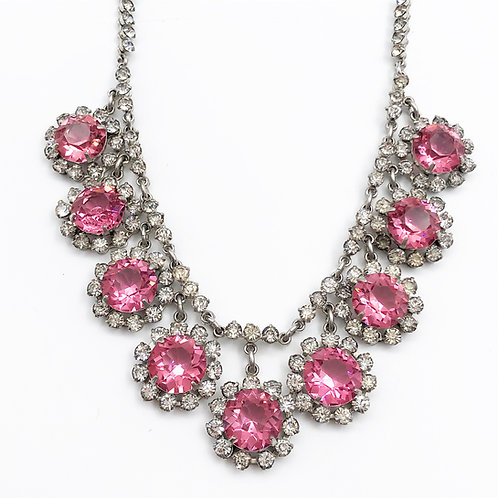 Bubble Gum Pink Crystal Necklace