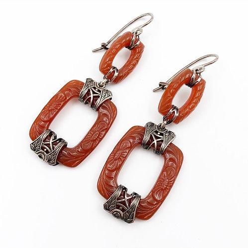 Carved Cornelian Sterling Earrings