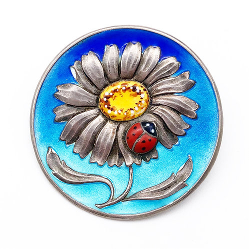 Blue Enamel Flower & Lady Bug Pin