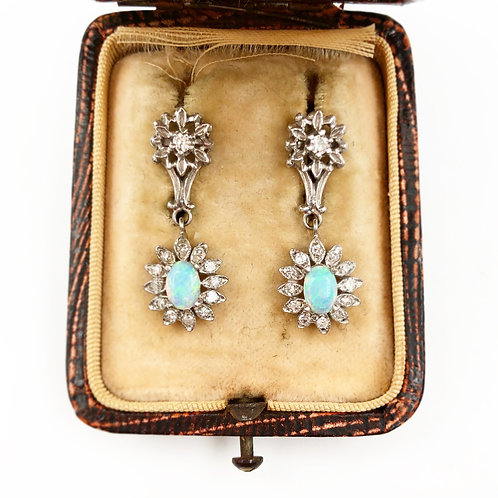 Art Deco Opal & Diamond Earrings