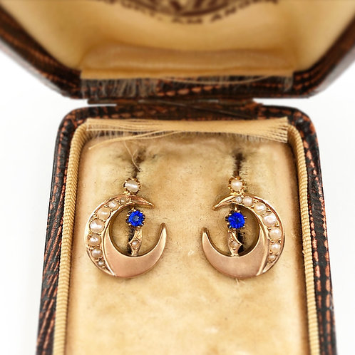 Star & Moon Sapphire Earrings