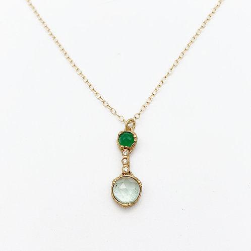 14k Yellow Gold Emerald & Diamond Pendant