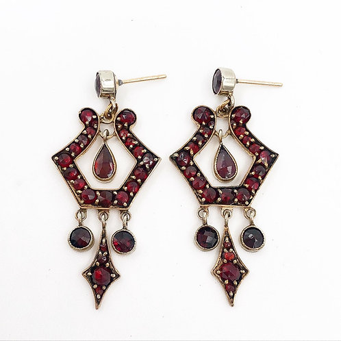 Bohemian Garnet Chandelier Earrings