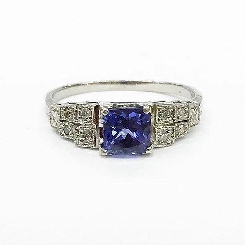Art Deco Tanzanite & Diamond Ring