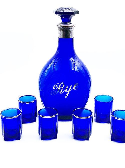 Art Deco Cobalt Decanter & 6 Shot Glasses