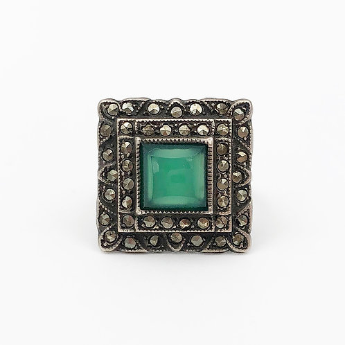 1930's Green Chalcedony Ring