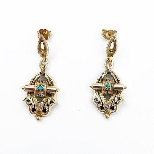 Victorian Enamel & Turquoise Earrings
