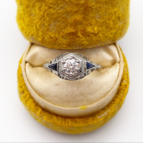 Diamond Engagement Ring With Accent Sapphires
