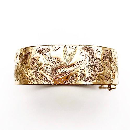 Bangle Bracelet With Bird & Flower Motif