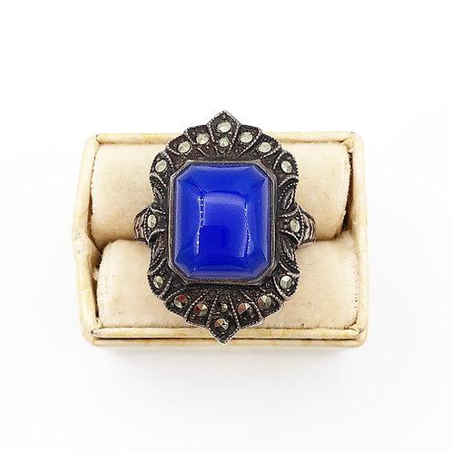 Art Deco Blue Chalcedony Ring
