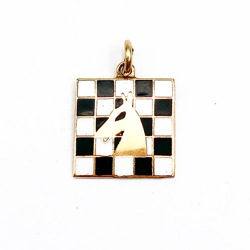 Enamel Knight & Chess Board Charm