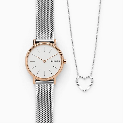 Skagen Watch & Heart Necklace Set