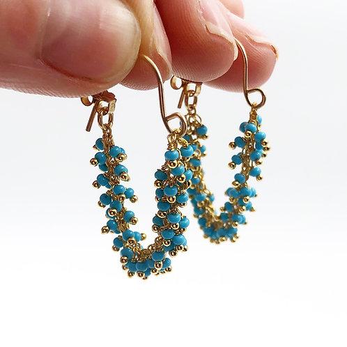 Fringe Turquoise Hoop Earrings